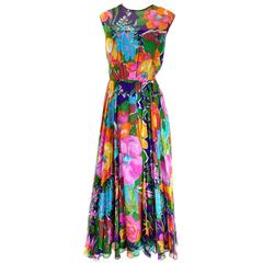 1970s Vintage Sleeveless Dress in a Bright Floral Chiffon Print