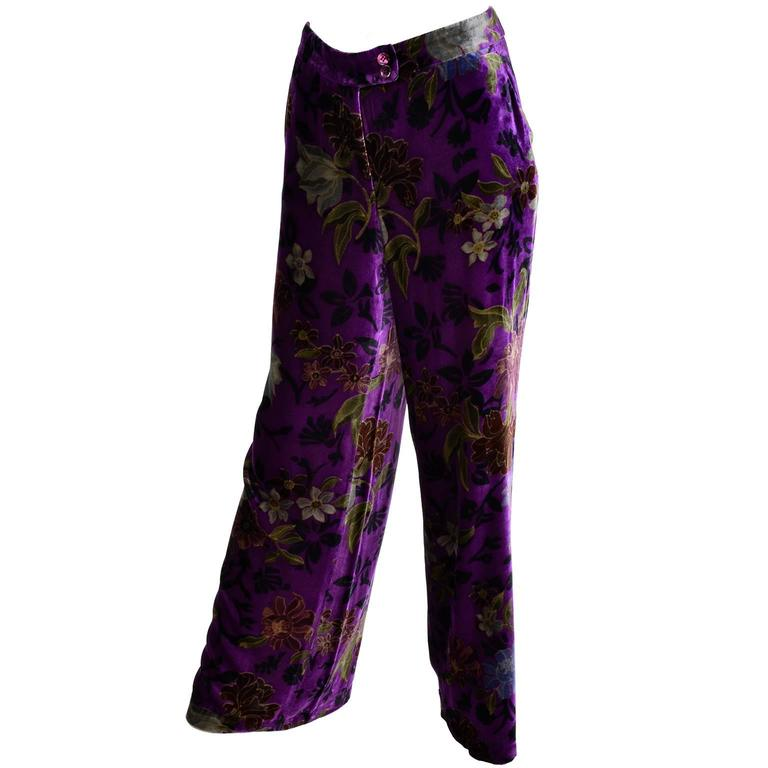 Black Purple Velvet Floral Etro Silk and Rayon Wide Leg Pants Size Large For Sale