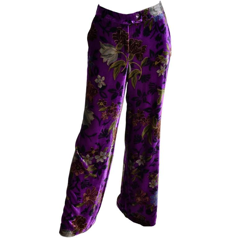 Purple Velvet Floral Etro Silk and Rayon Wide Leg Pants Size Large For Sale