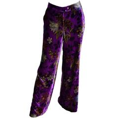 Purple Velvet Floral Etro Silk and Rayon Wide Leg Pants Size Large