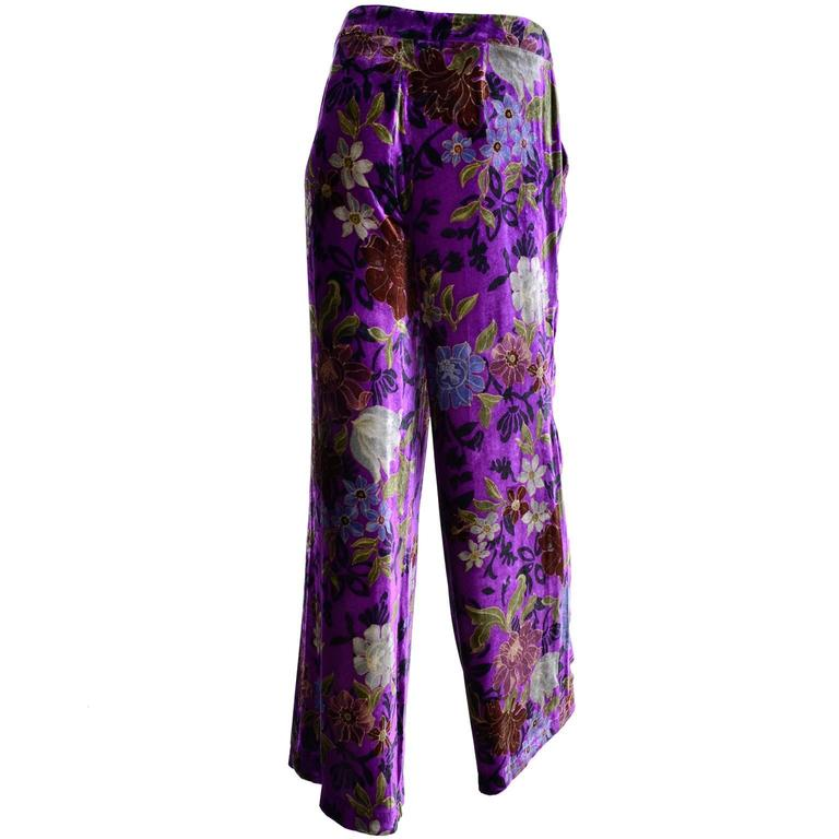 Purple Velvet Floral Etro Silk and Rayon Wide Leg Pants Size Large In Excellent Condition For Sale In Portland, OR