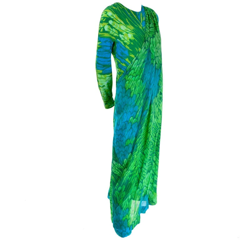 1970s Vintage Silk Jersey Blue & Green Print Jumpsuit w/ Matching Sarong For Sale