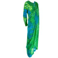 1970s Vintage Silk Jersey Blue & Green Print Jumpsuit w/ Matching Sarong