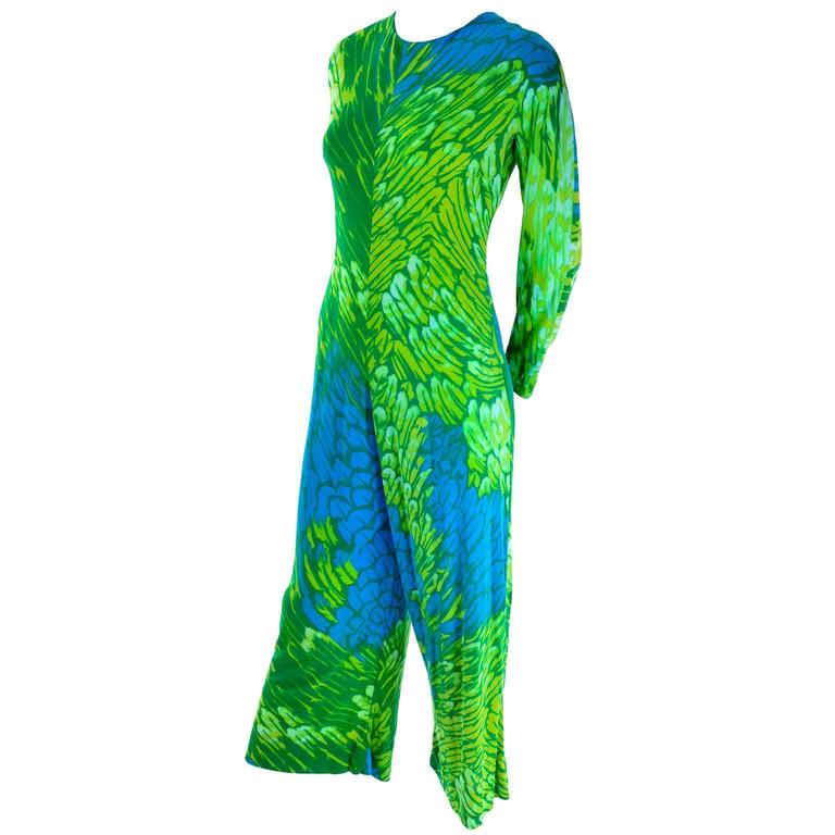 Women's 1970s Vintage Silk Jersey Blue & Green Print Jumpsuit w/ Matching Sarong For Sale