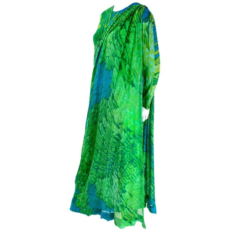 1970s Vintage Silk Jersey Blue & Green Print Jumpsuit w/ Matching Sarong For Sale 1