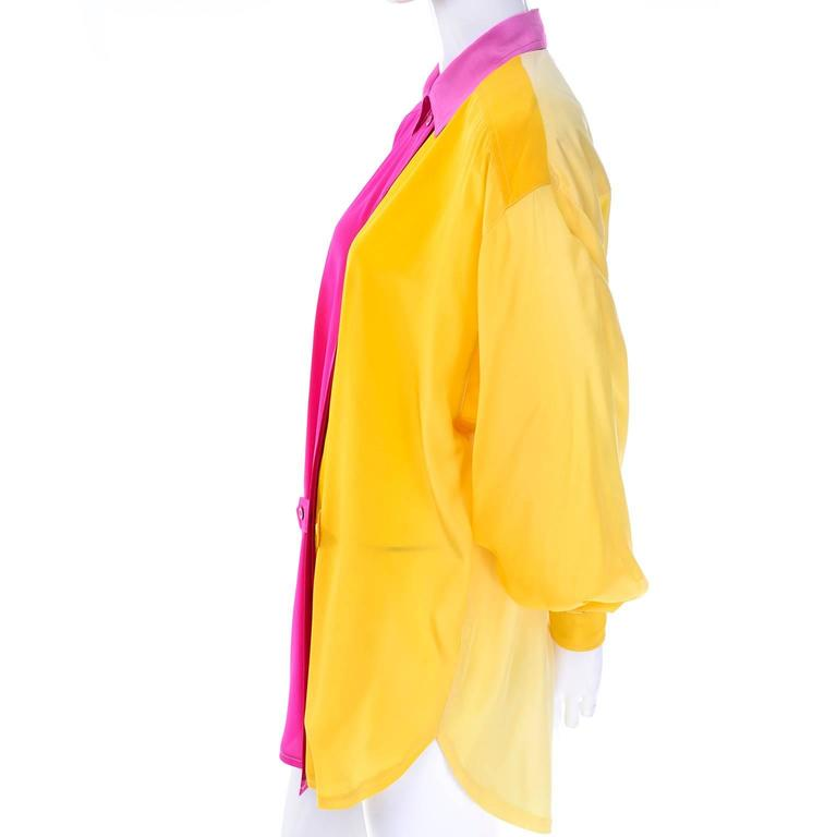 Escada Vintage Silk Yellow & Pink Color Block Blouse With Ombre Back In Excellent Condition In Portland, OR