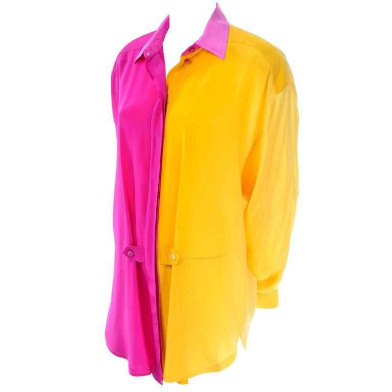 Escada Vintage Silk Yellow & Pink Color Block Blouse With Ombre Back 1