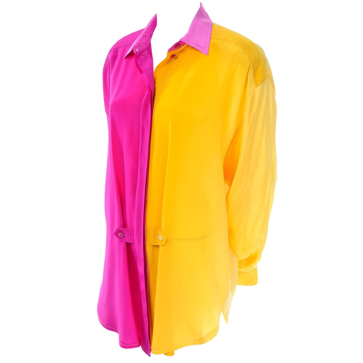 57f294ac94991 Escada Vintage Silk Yellow and Pink Color Block Blouse With Ombre Back For  Sale at 1stdibs