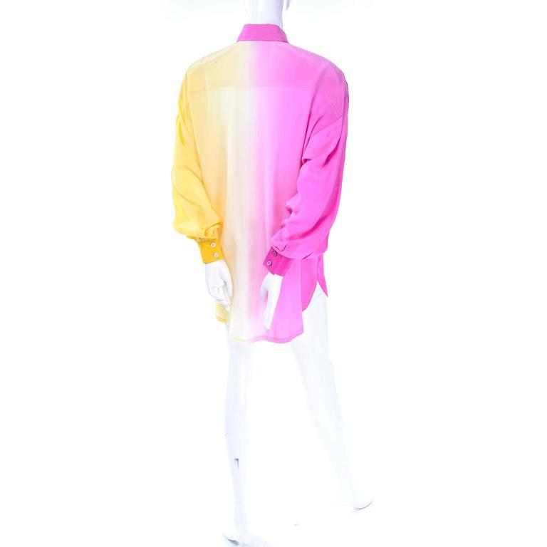 Women's Escada Vintage Silk Yellow & Pink Color Block Blouse With Ombre Back