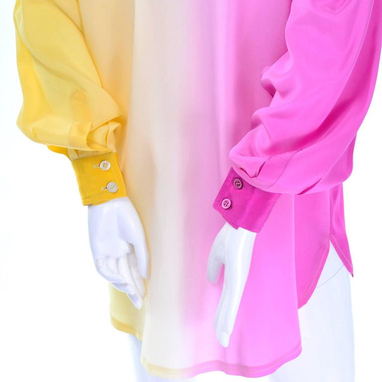 Escada Vintage Silk Yellow & Pink Color Block Blouse With Ombre Back 2