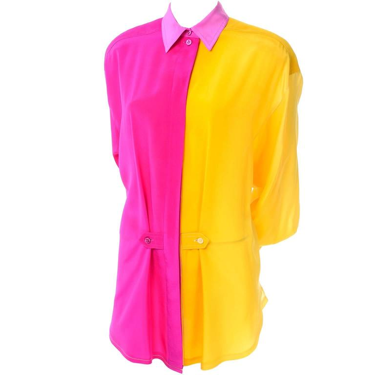 Escada Vintage Silk Yellow & Pink Color Block Blouse With Ombre Back