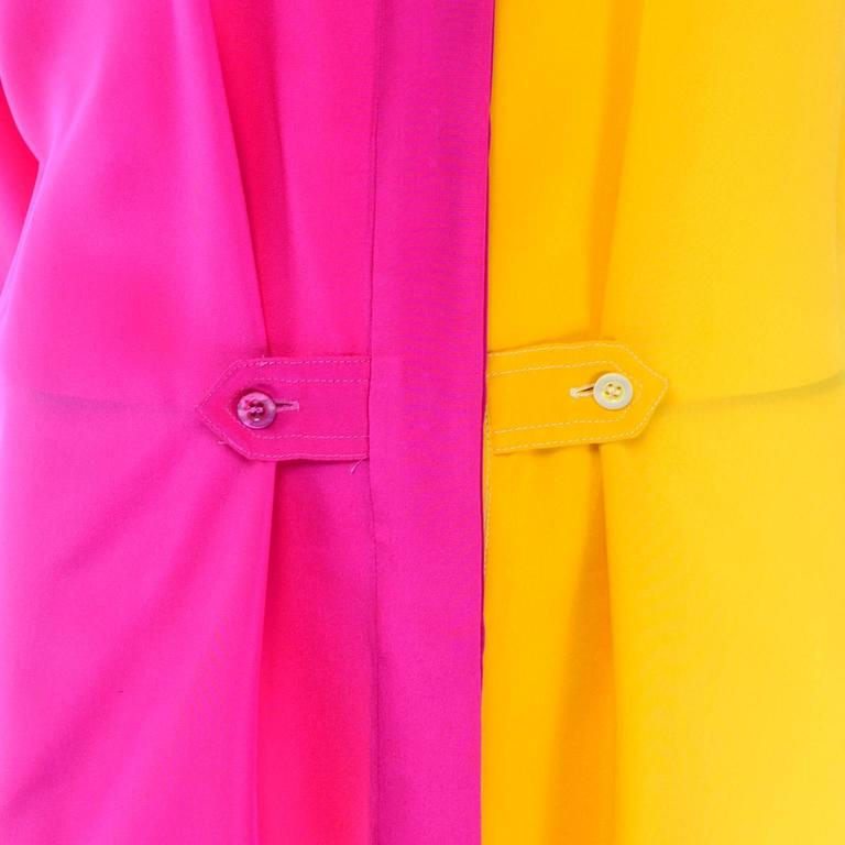 Escada Vintage Silk Yellow & Pink Color Block Blouse With Ombre Back 3