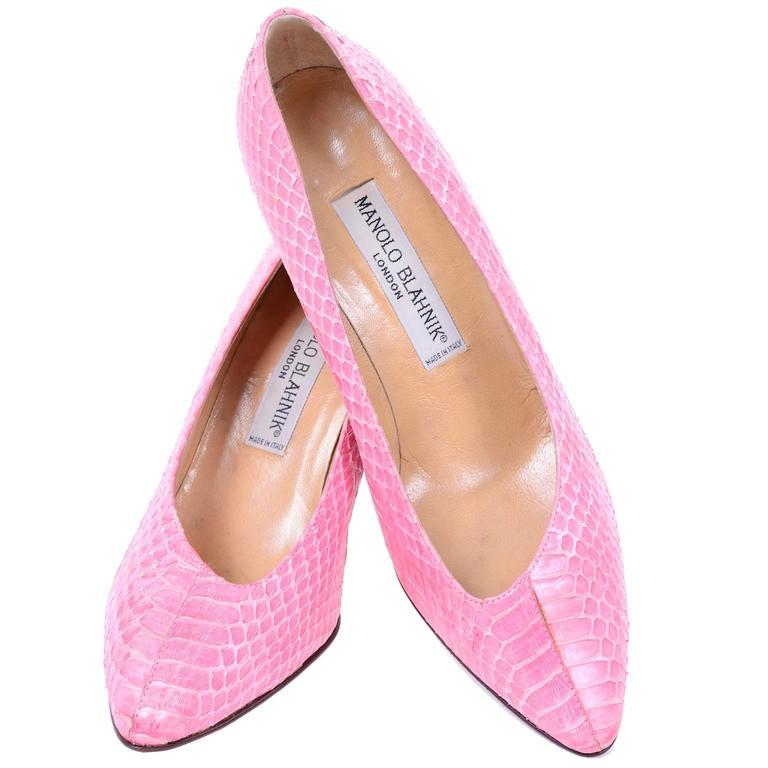 Pink Snakeskin Manolo Blahnik Vintage 1980s Shoes Unique Asymmetrical Openings