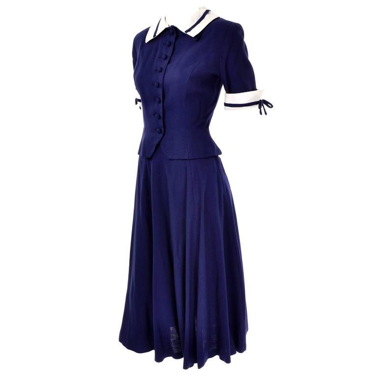 Vintage Navy Blue & White 2 Pc Rayon Dress w/ peplum Worn by Jessica Chastain