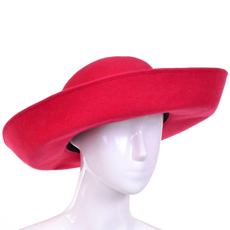 Patricia Underwood Red Wool Wide Brim Vintage Hat with Bergdorf Goodman Tag In New Condition For Sale In Portland, OR