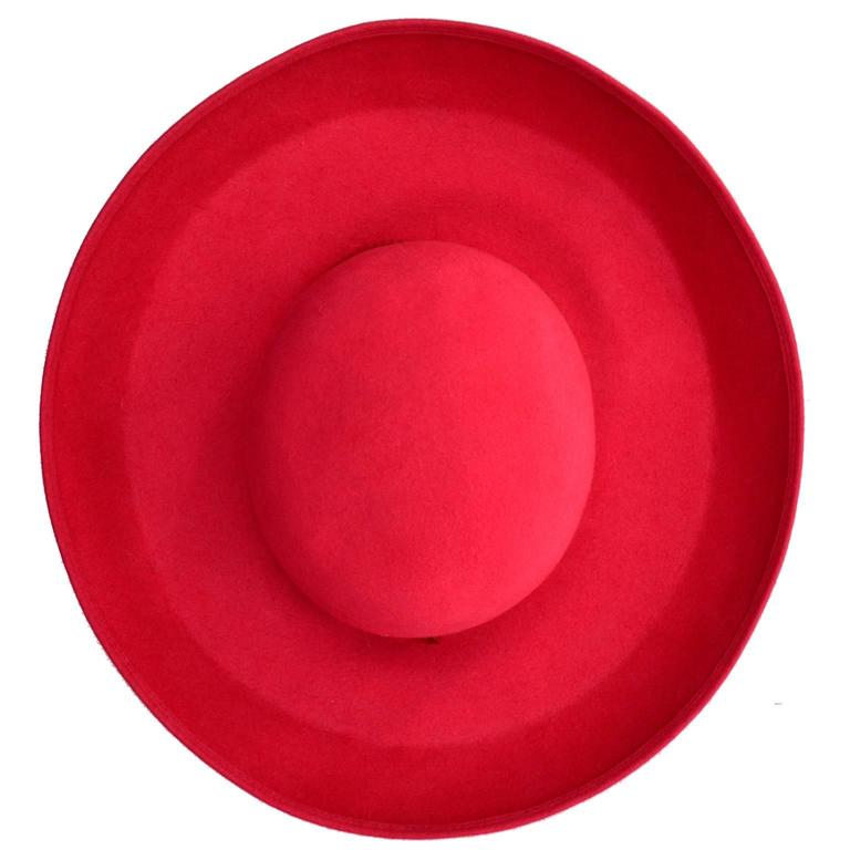 Patricia Underwood Red Wool Wide Brim Vintage Hat with Bergdorf Goodman Tag For Sale