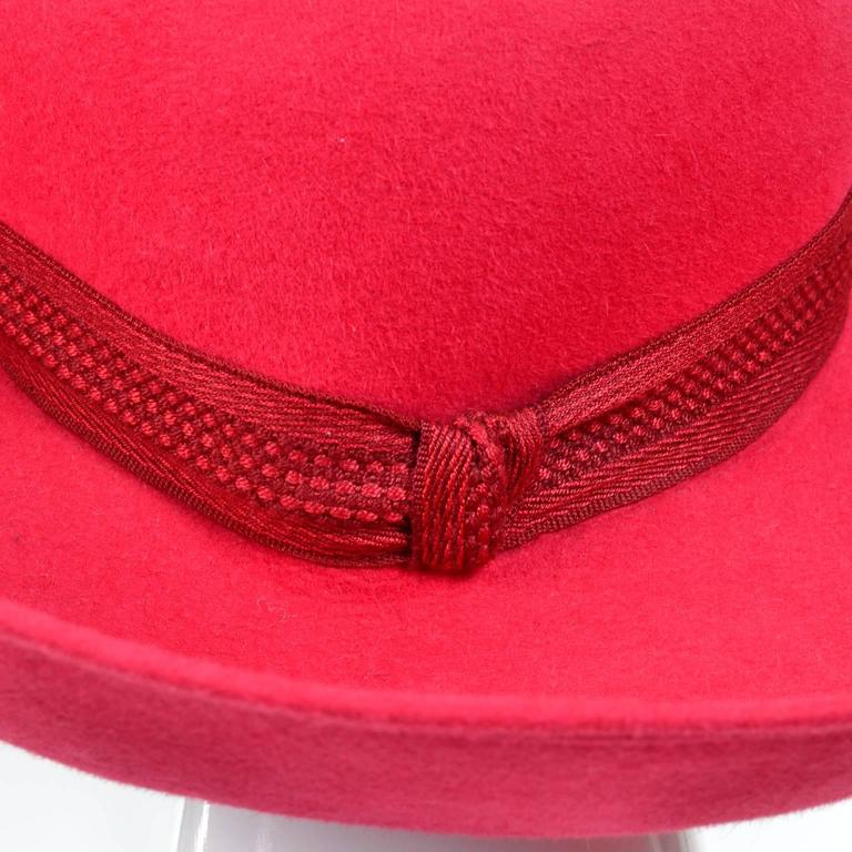 Patricia Underwood Red Wool Wide Brim Vintage Hat with Bergdorf Goodman Tag For Sale 1