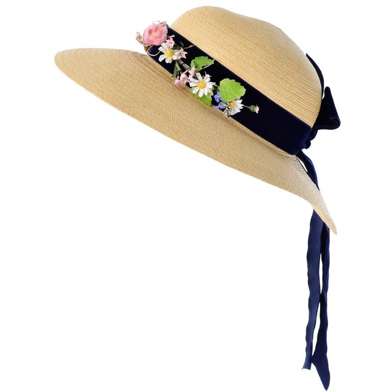 Vintage Straw Hat 1950s from I Magnin & Co Importers w/ Velvet Ribbon & Flowers For Sale