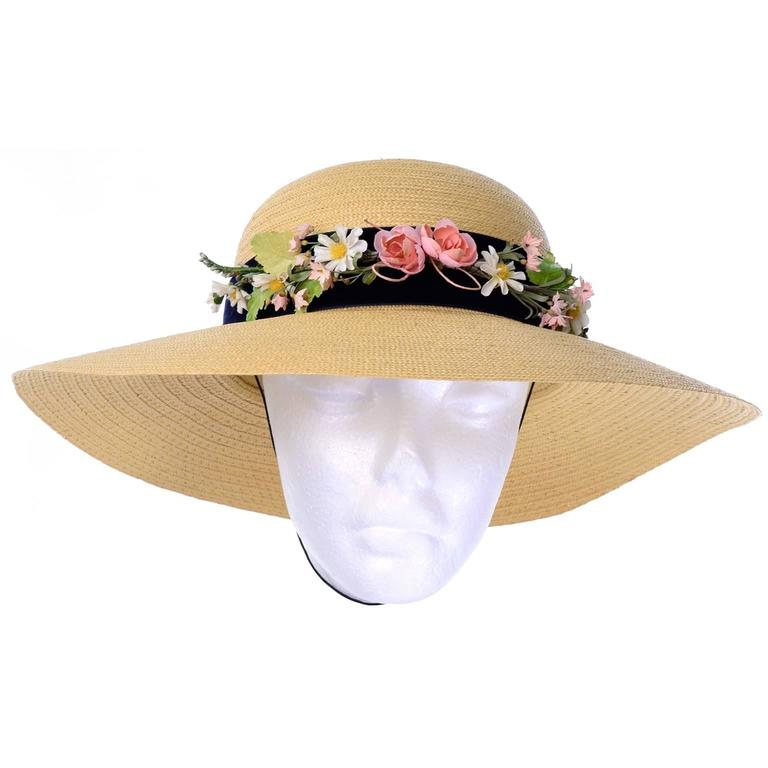 Women's Vintage Straw Hat 1950s from I Magnin & Co Importers w/ Velvet Ribbon & Flowers For Sale