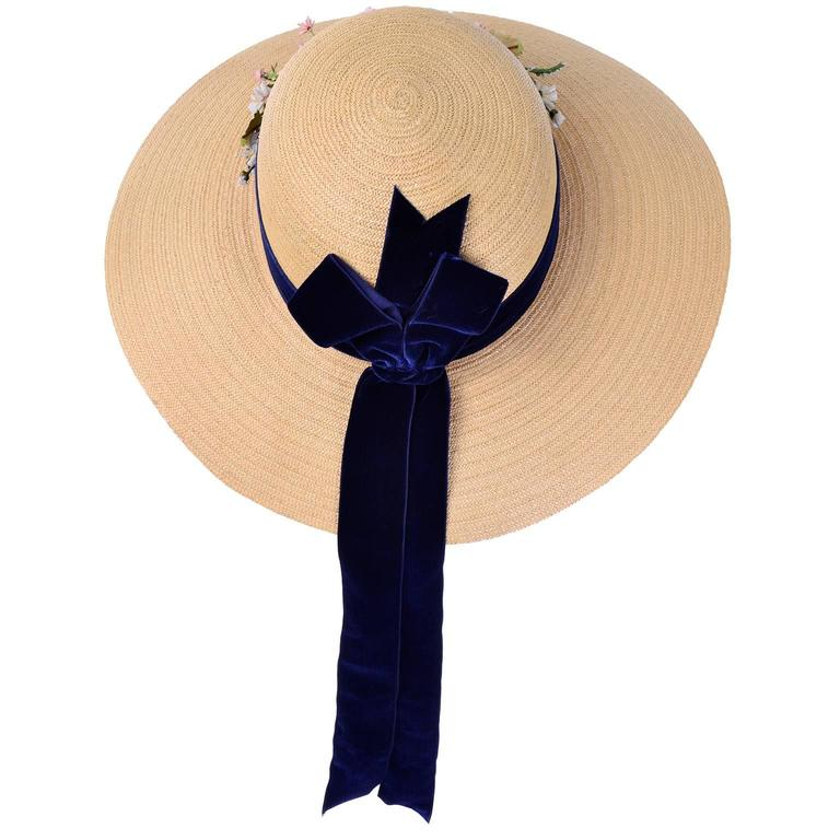 Vintage Straw Hat 1950s from I Magnin & Co Importers w/ Velvet Ribbon & Flowers For Sale 1