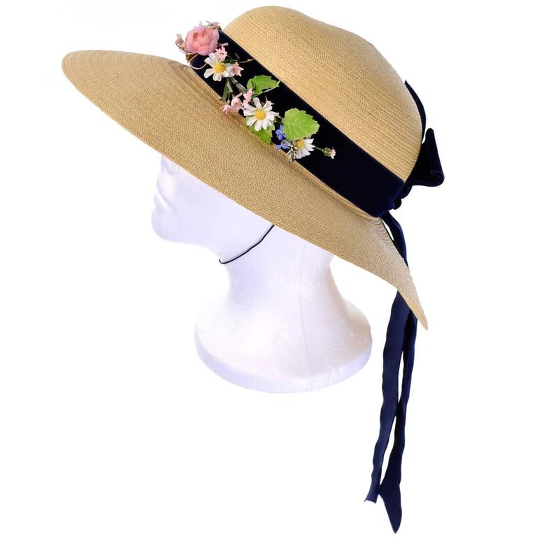 Vintage Straw Hat 1950s from I Magnin & Co Importers w/ Velvet Ribbon & Flowers For Sale 3