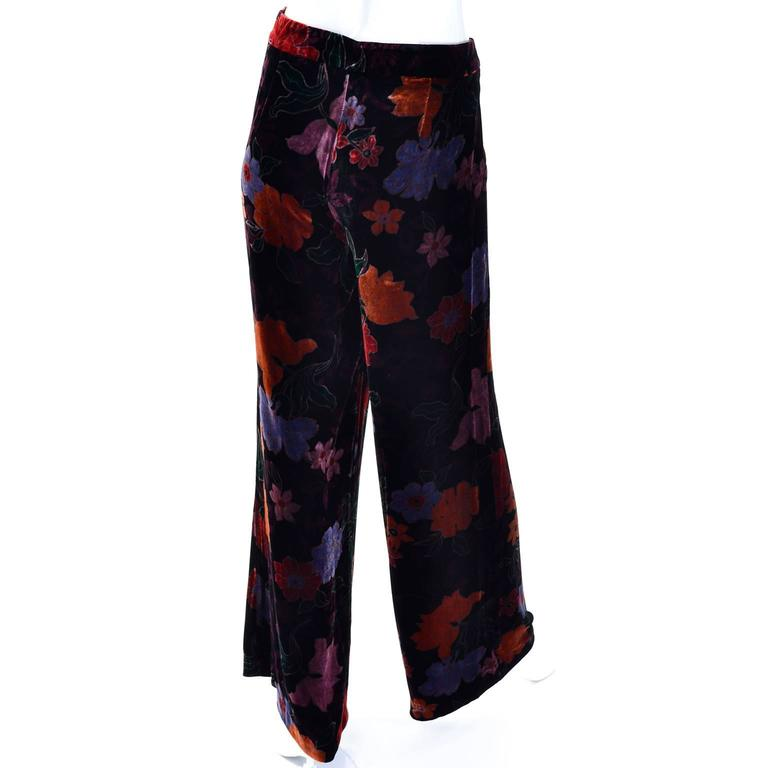 Women's Luxe Etro Floral Silk Rayon Velvet Fall Winter Pants For Sale