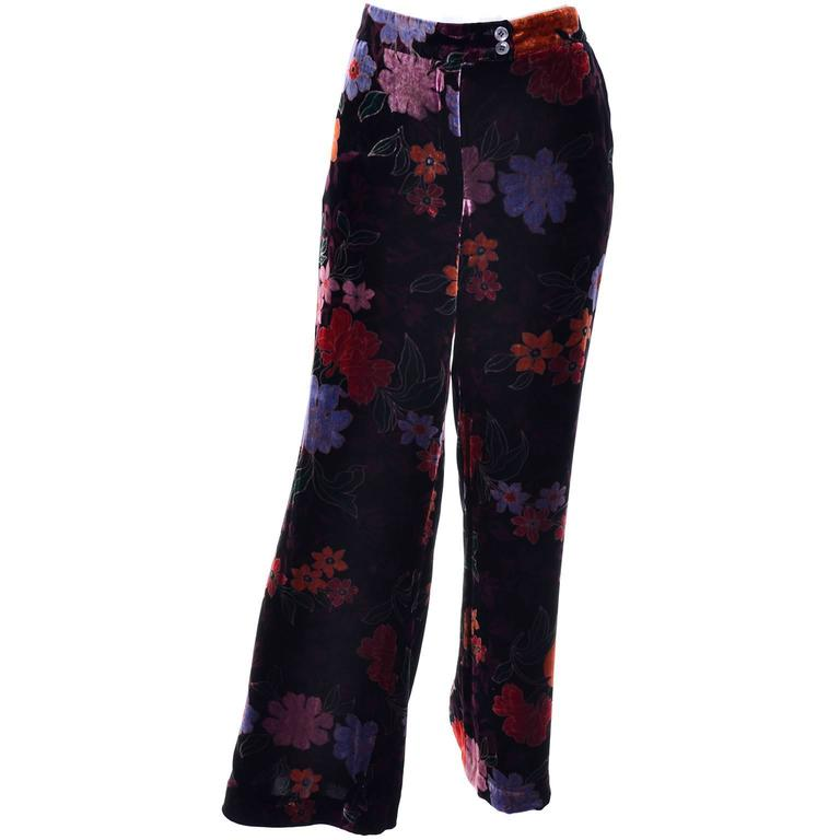 Luxe Etro Floral Silk Rayon Velvet Fall Winter Pants For Sale