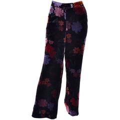 Luxe Etro Floral Silk Rayon Velvet Fall Winter Pants