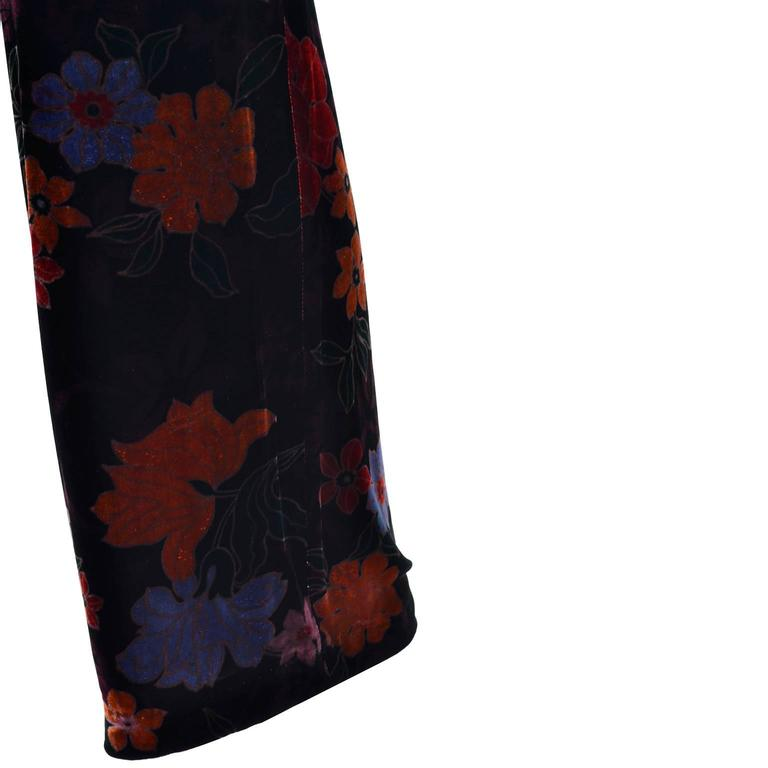 Luxe Etro Floral Silk Rayon Velvet Fall Winter Pants In Excellent Condition For Sale In Portland, OR