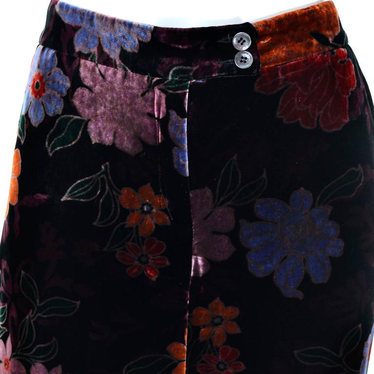 Black Luxe Etro Floral Silk Rayon Velvet Fall Winter Pants For Sale
