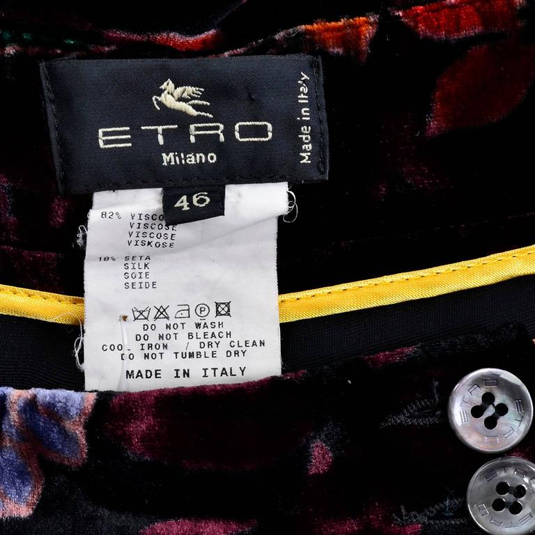 Luxe Etro Floral Silk Rayon Velvet Fall Winter Pants For Sale 1