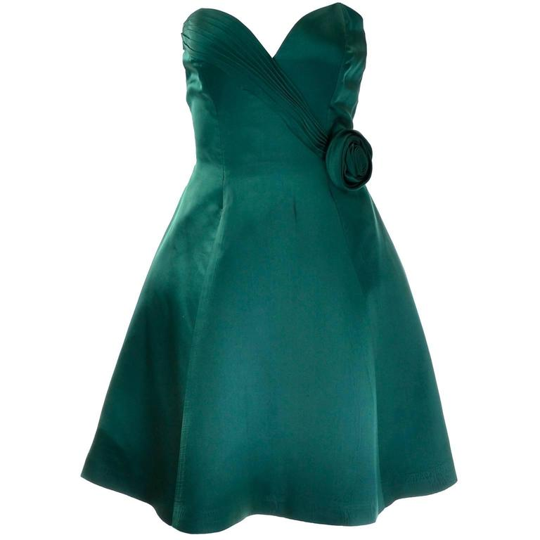 1980s Vicky Teal Couture Bergdorf Goodman Green Satin Strapless Dress For Sale
