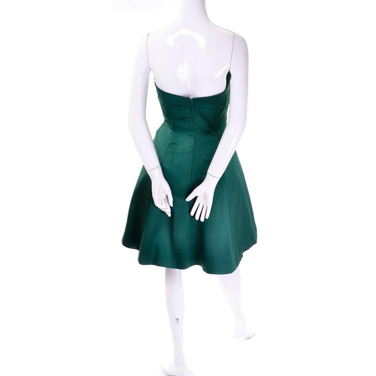 1980s Vicky Teal Couture Bergdorf Goodman Green Satin Strapless Dress For Sale 4