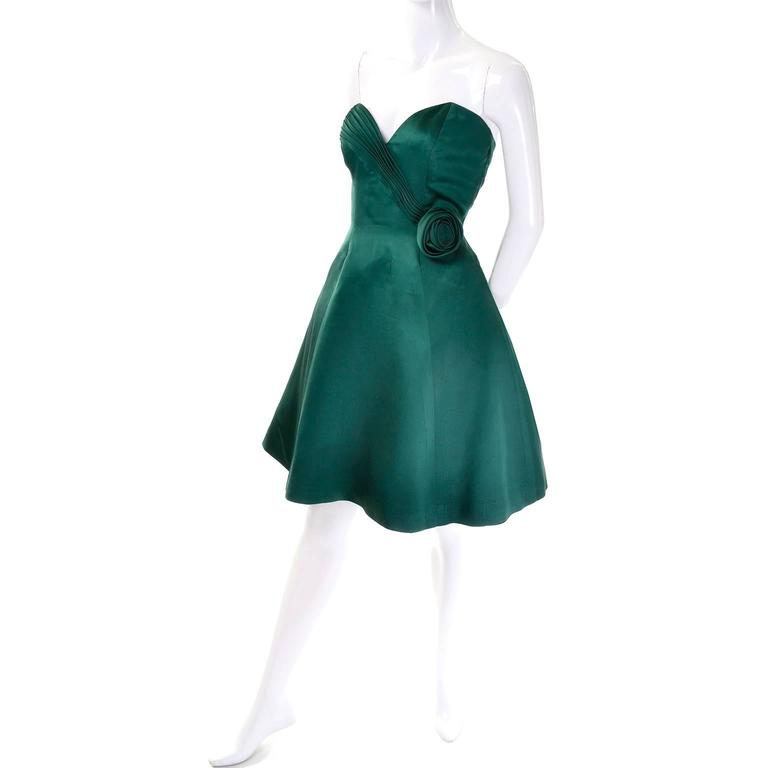 1980s Vicky Teal Couture Bergdorf Goodman Green Satin Strapless Dress In New Condition For Sale In Portland, OR