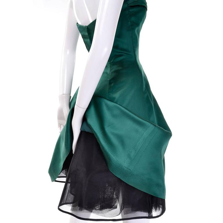 Women's 1980s Vicky Teal Couture Bergdorf Goodman Green Satin Strapless Dress For Sale