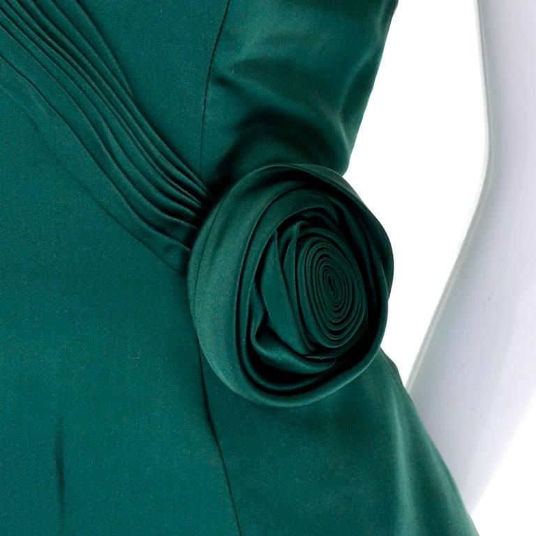 1980s Vicky Teal Couture Bergdorf Goodman Green Satin Strapless Dress For Sale 2