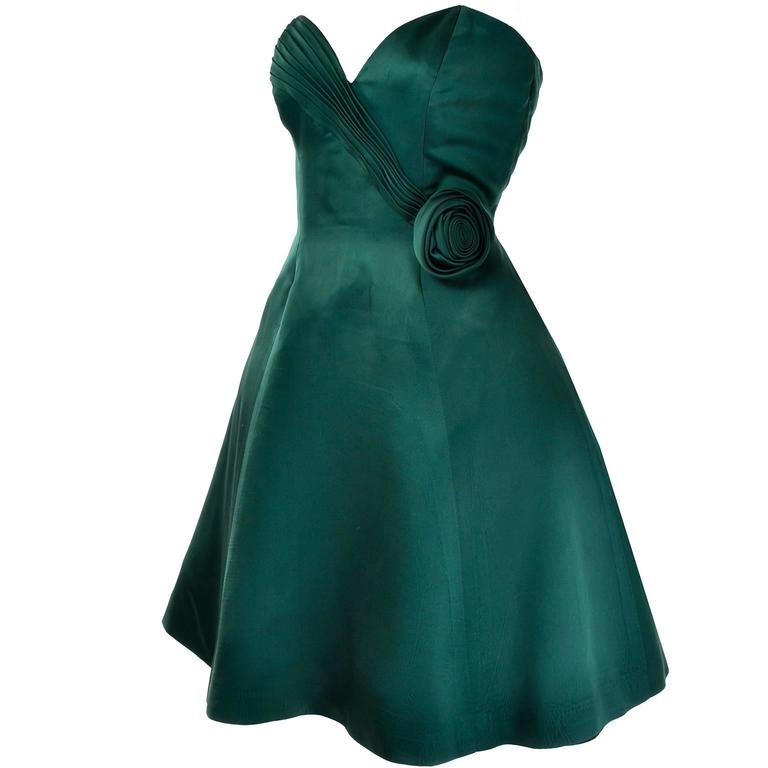 1980s Vicky Teal Couture Bergdorf Goodman Green Satin Strapless Dress For Sale 3