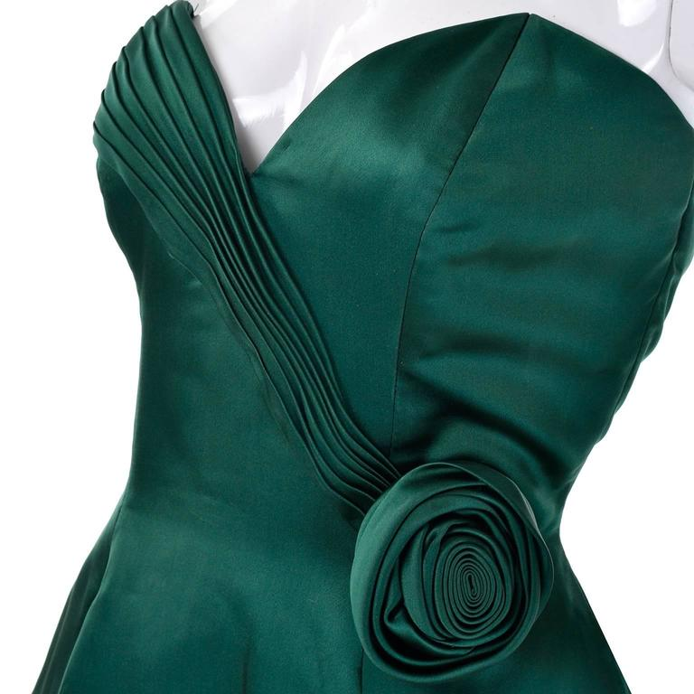 1980s Vicky Teal Couture Bergdorf Goodman Green Satin Strapless Dress For Sale 1
