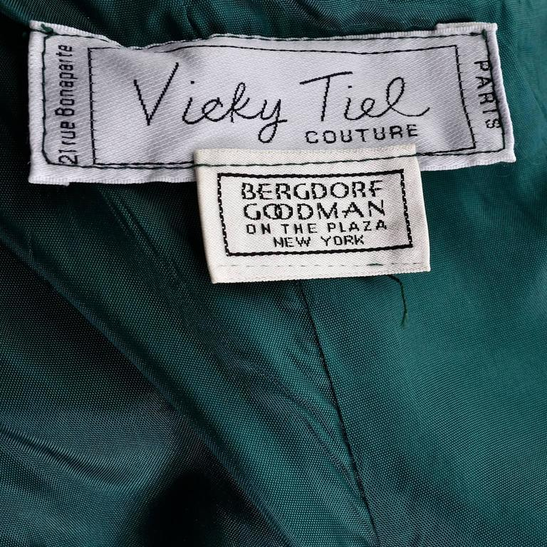 1980s Vicky Teal Couture Bergdorf Goodman Green Satin Strapless Dress For Sale 5