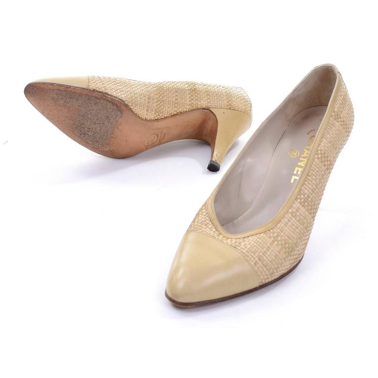 Chanel Vintage Pumps Woven Shoes With Tan Leather Trim in Size 8.5 5