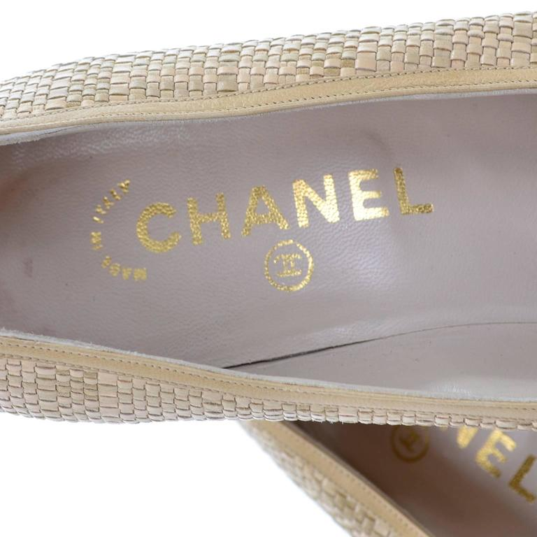Chanel Vintage Pumps Woven Shoes With Tan Leather Trim in Size 8.5 7