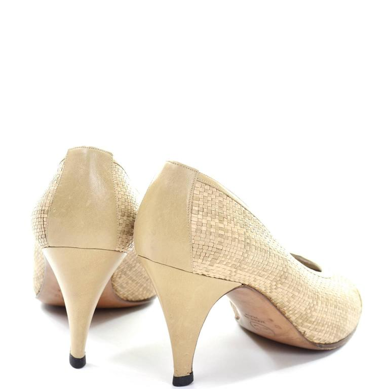 Chanel Vintage Pumps Woven Shoes With Tan Leather Trim in Size 8.5 4