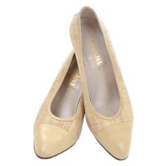Chanel Vintage Pumps Woven Shoes With Tan Leather Trim in Size 8.5