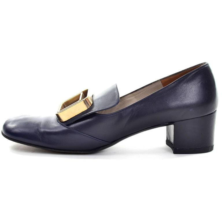 1960s Vintage Pierre Cardin Navy Blue Leather Shoes With Gold Buckles 4
