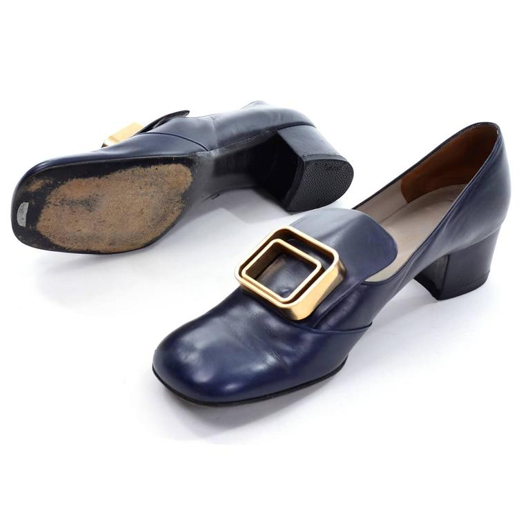 1960s Vintage Pierre Cardin Navy Blue Leather Shoes With Gold Buckles 2