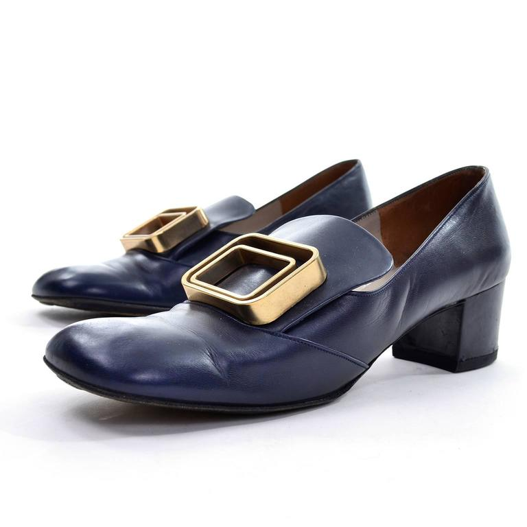 1960s Vintage Pierre Cardin Navy Blue Leather Shoes With Gold Buckles 5