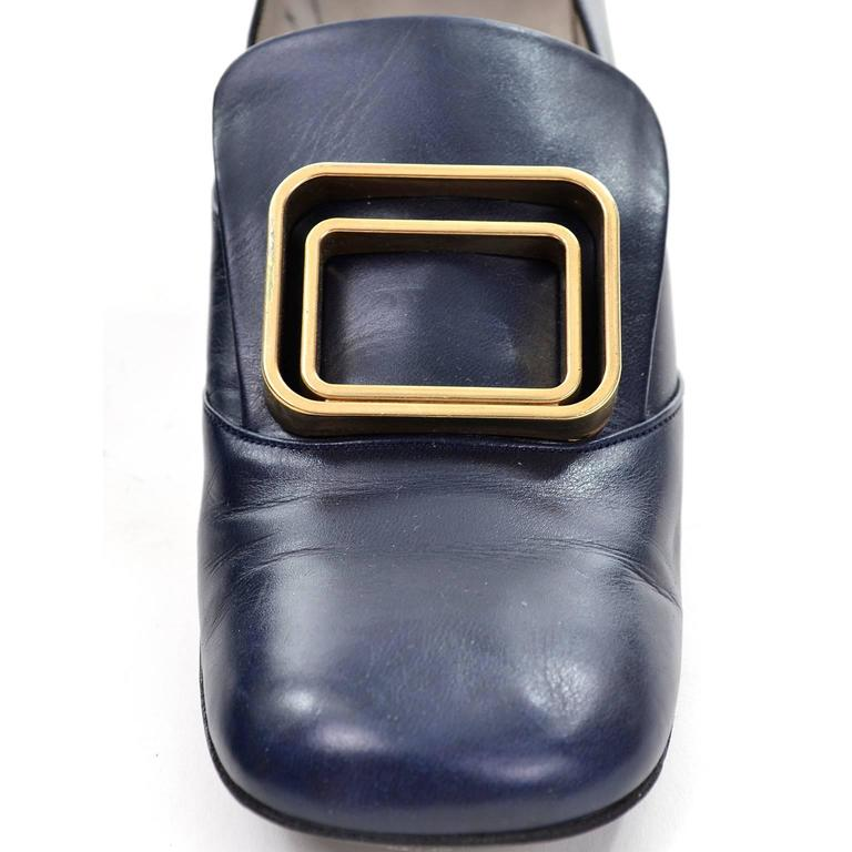1960s Vintage Pierre Cardin Navy Blue Leather Shoes With Gold Buckles 3