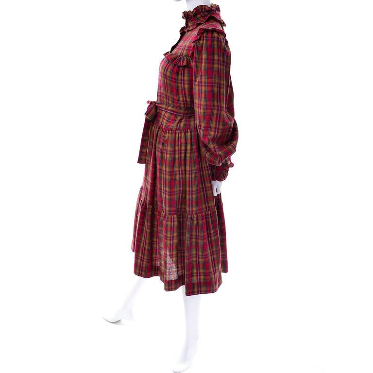 Women's 1978 Vintage Yves Saint Laurent YSL Plaid Wool Dress with Ruffles Documented For Sale