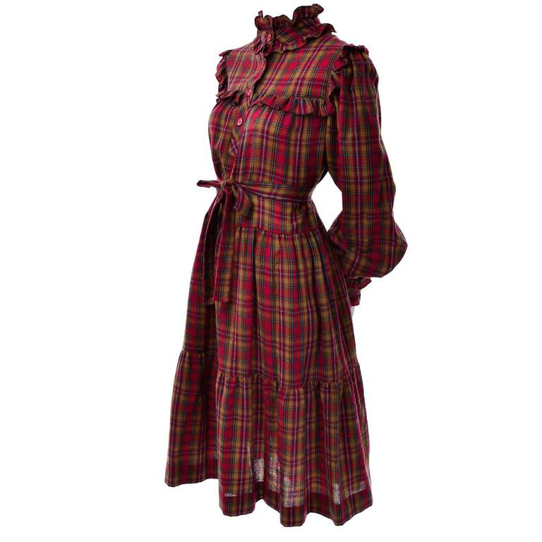 1978 Vintage Yves Saint Laurent YSL Plaid Wool Dress with Ruffles Documented For Sale 1