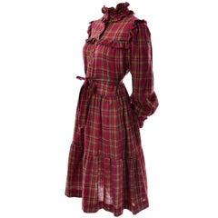 1978 Yves Saint Laurent YSL Plaid Ruffled Documented Peasant Prairie Dress